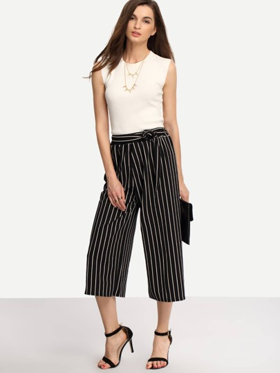Self-Tie Vertical Striped Black Wide Leg Pants