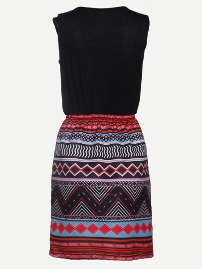 Multicolor Tribal Print 2 in 1 Tank Dress