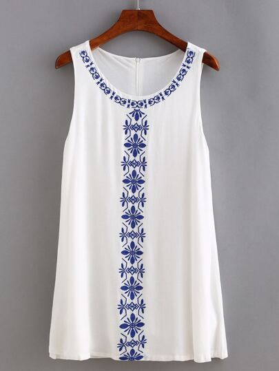 White Embroidery Swing Tank Dress