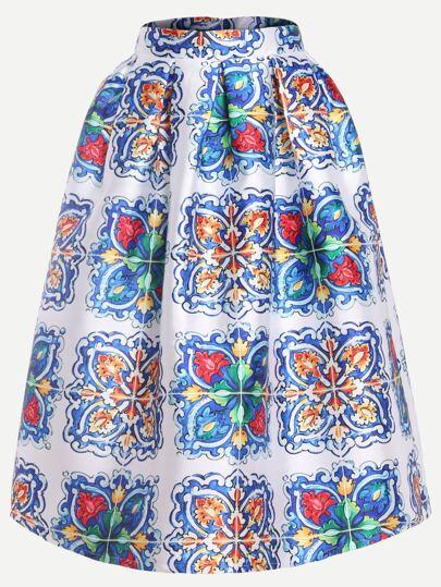 Multicolor Flower Print Box Pleated Midi Skirt