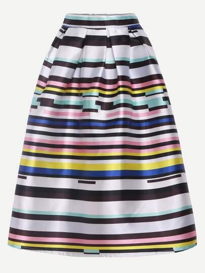 Multicolor Striped Print Box Pleated Midi Skirt