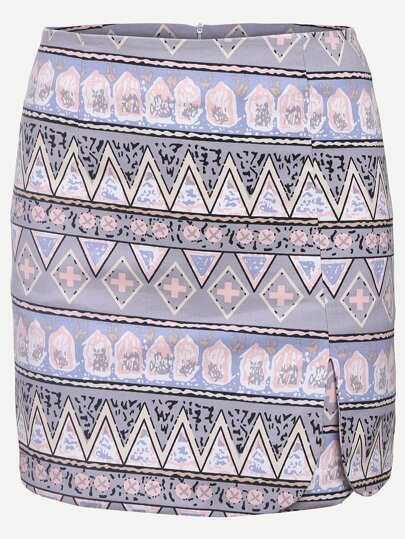 Multicolor Tribal Print Pencil Skirt