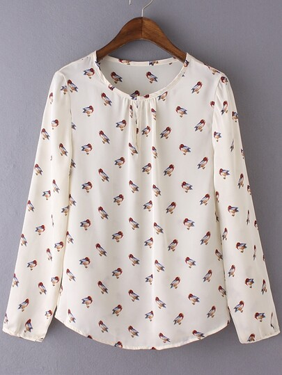 Multicolor Long Sleeve Birds Print Chiffon Blouse