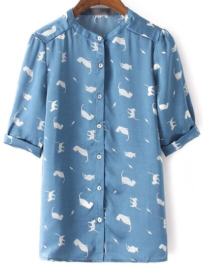 Blue Roll Cuff Buttons Front Cats Printed Blouse