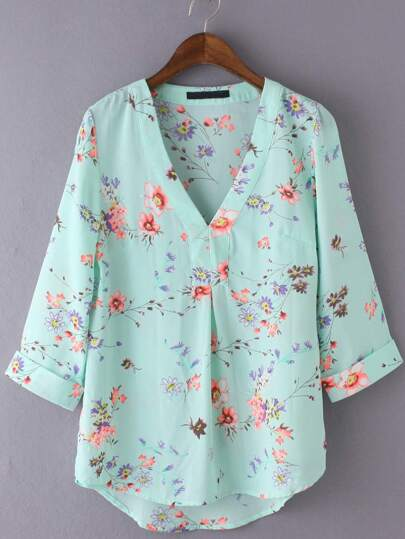 Multicolor V Neck Floral Print Chiffon Blouse