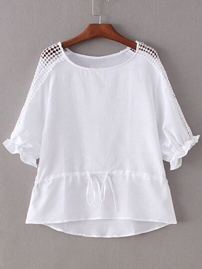 White Tie-Waist Bow Hollow Splicing Blouse