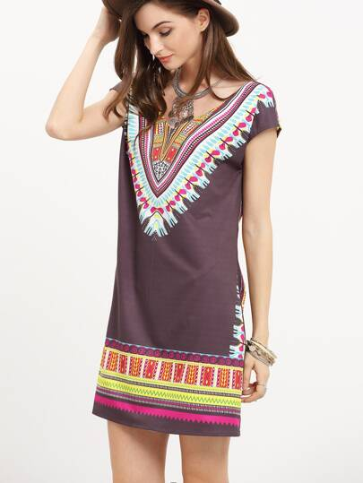 Multicolor Print Cap Sleeve Scoop Neck Shift Dress