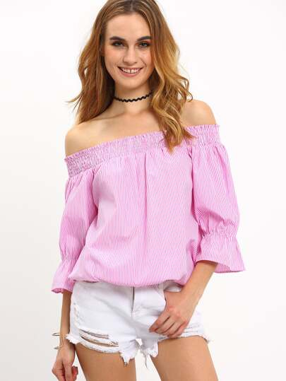 Hot Pink Striped Convertible Bow Blouse