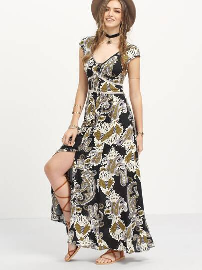 Multicolor Print Hollow Back Split Boho Maxi Dress