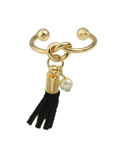 Open Ring with Pu Leather Tassel