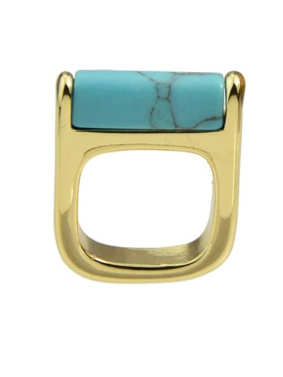 Gold Plated Turquoise Big Ring