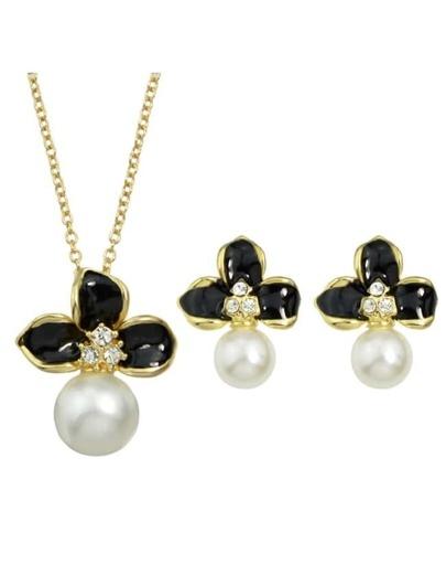 Pearl Enamel Flower Jewelry Set