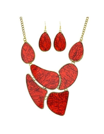 Red Stone Statement Jewelry Set