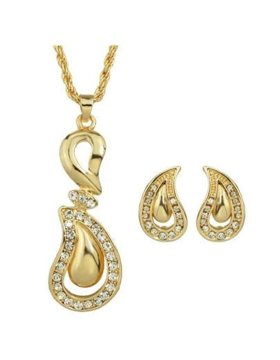 Gold Plated Rhinestone Jewelry Set