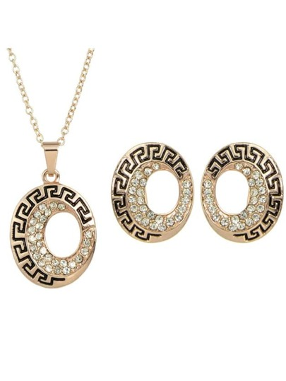Rosegold Plated Rhinestone Jewelry Set