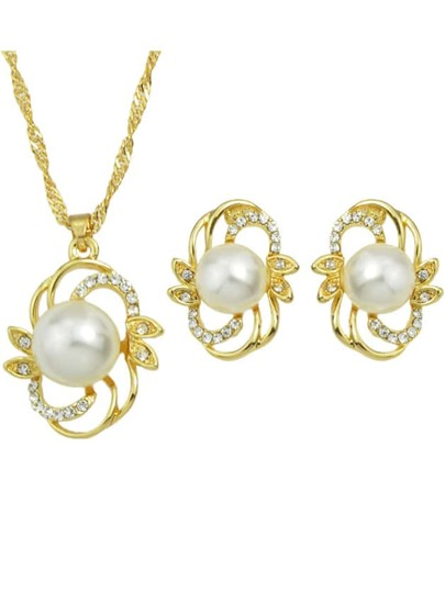 Gold Plated Big Pearl Jewelry Set