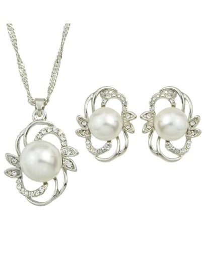 Silver Plated Big Pearl Jewelry Set