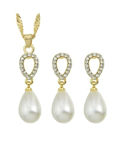 Gold Plated Pearl Jewelry Set