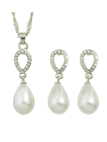 Silver Plated Pearl Jewelry Set