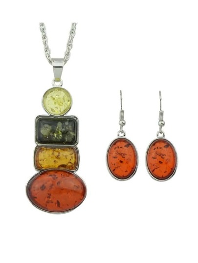 Colorful Rhinestone Pendant Jewelry Set