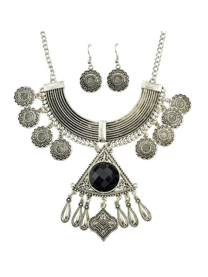 Black Rhinestone Indian Jewelry Set