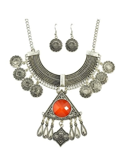 Orange Rhinestone Indian Jewelry Set