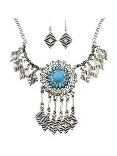 Blue Stone Statement Jewelry Set