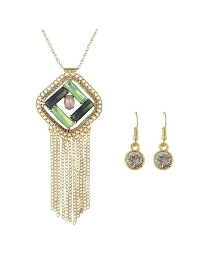 Rhinestone Long Chain Jewelry Set