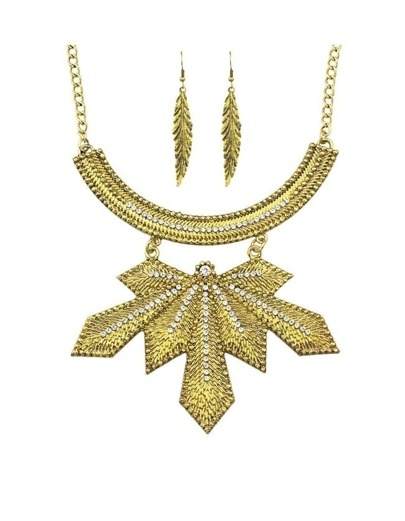 Gold Plated Rhinestone Leaf Jewelry Set