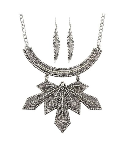 Silver Plated Rhinestone Leaf Jewelry Set
