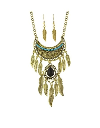 Gold Rhinestone Hanging Leaf Jewelry Set