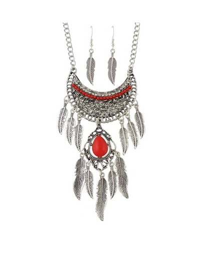 Silver Rhinestone Hanging Leaf Jewelry Set