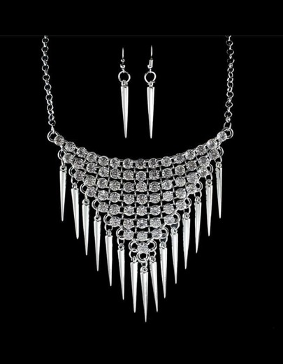 Long Spike Statement Jewelry Set