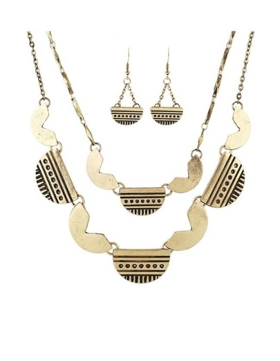 Gold Geometric Multilayers Jewelry Set