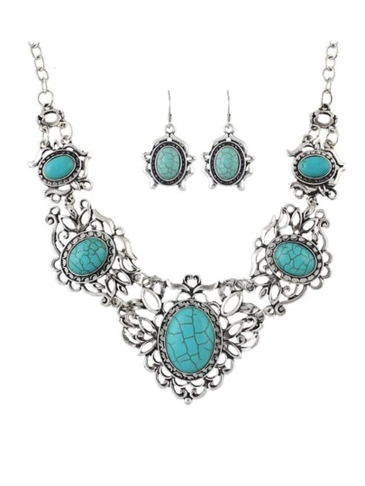 Silver Plated Statement Turquoise Jewelry Set