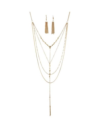 Multilayers Long Chain Jewelry Set