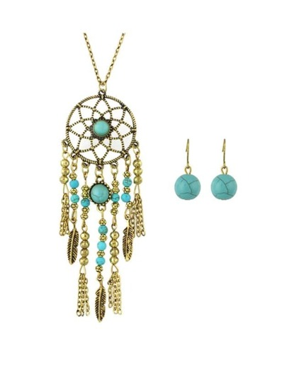 Long Necklace Srop Earrings Turquoise Jewelry Set