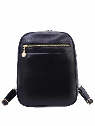 Black Faux Leather Pebbled Backpack