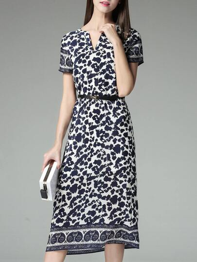 Navy Belted Print A-Line Dress