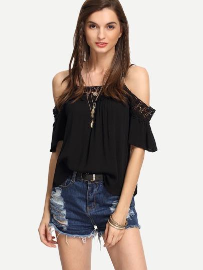 Black Lace Trimmed Cold Shoulder Top