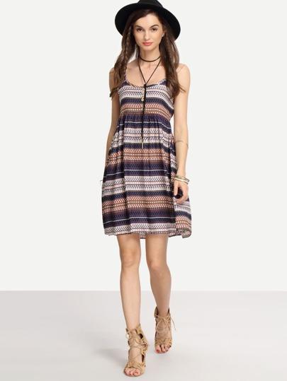 Multicolor Geometric Print Cami Dress