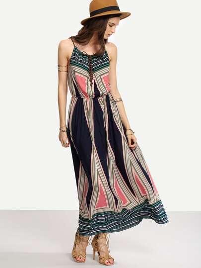 Multicolor Geometric Print Cami Long Dress