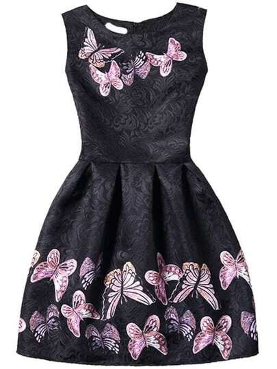 Black Butterfly Print Fit & Flare Sleeveless Dress