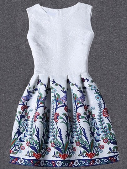 White Flower Print Fit & Flare Sleeveless Dress