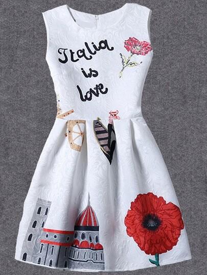 White Printed Fit & Flare Sleeveless Dress