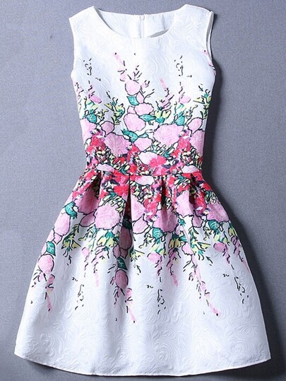 Pink Flower Print Fit & Flare Sleeveless Dress