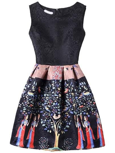 Black Tree Print Fit & Flare Sleeveless Dress