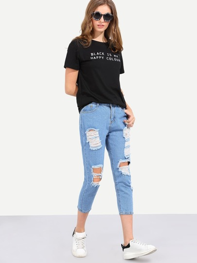 Ripped Light Blue Ankle Jeans