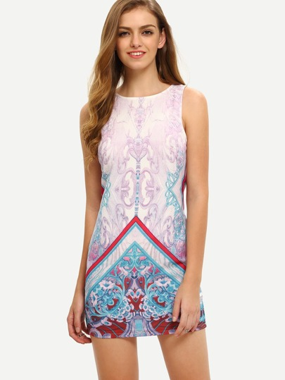 Multicolor Print Sleeveless Zipper Back Dress