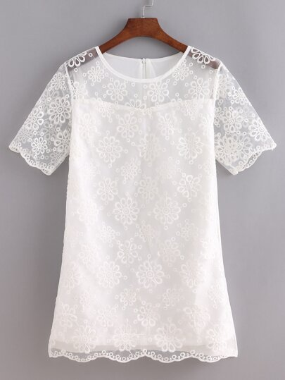White Short Sleeve Embroidered Dress